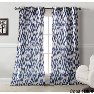 Caitlin Cotton-Satin Look Ikat Grommet-top Curtain Panel Pair