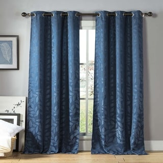 Brox Linen Look Jacquard Grommet Curtain Panel Pair