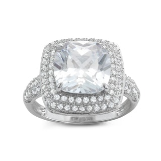 Gioelli Sterling Silver Double Square Halo Princess Cubic Zirconia Bridal-style Ring