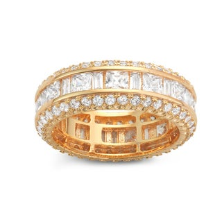 Gioelli Yellow Gold Plated Sterling Silver Square Cubic Zirconia Channel-set Eternity Band