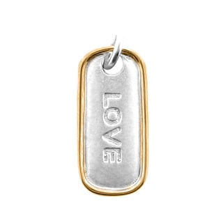 Meredith Leigh Sterling Silver with 14-karat Yellow Gold Accent 'Love' Tag Pendant