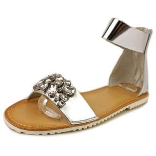 Kenneth Cole Reaction Women's 'Wipe Swipe 2' Silver Faux Leather Low Heel Sandals
