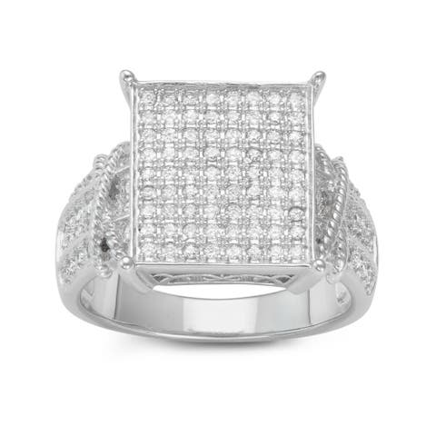 Gioelli Sterling Silver Square Pave Cubic Zirconia Engagement Ring