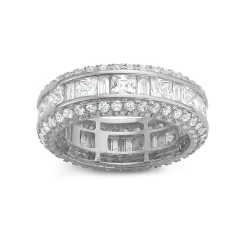 Gioelli Sterling Silver Square Cubic Zirconia Channel-set Eternity Band