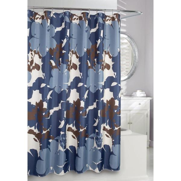 Painted Botanical Blue Floral Shower Curtain