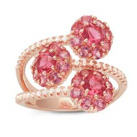 Gioelli Rose Plated Sterling Silver Pink Cubic Zirconia Flower Ring