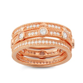 Gioelli Rose Plated Sterling Silver 3-piece Eternity Stackable Cubic Zirconia Band Set