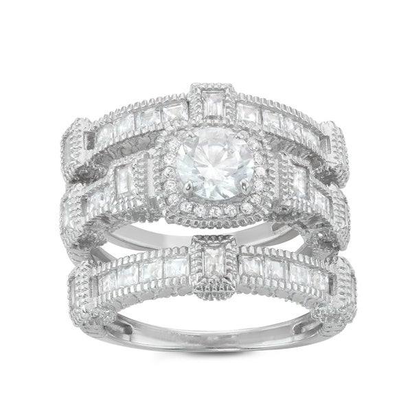 Shop Gioelli Sterling Silver Square And Round 3 Piece Halo Bridal
