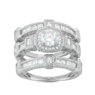 Gioelli Sterling Silver Square and Round 3-piece Halo Bridal-style Cubic Zirconia Ring Set