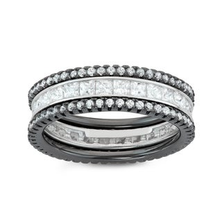 Gioelli Black over Silver 3-piece Eternity Stackable Cubic Zirconia Band Set