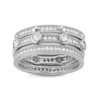 Gioelli Sterling Silver 3-piece Eternity Stackable Cubic Zirconia Band Set (5 options available)