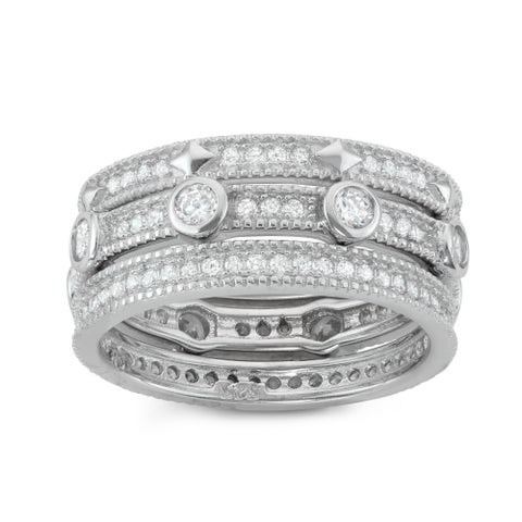 Gioelli Sterling Silver 3-piece Eternity Stackable Cubic Zirconia Band Set