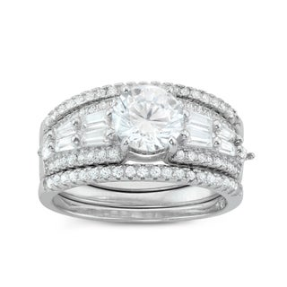 Gioelli Sterling Silver Baguette and Round 3-piece Bridal-style Cubic Zirconia Ring Set