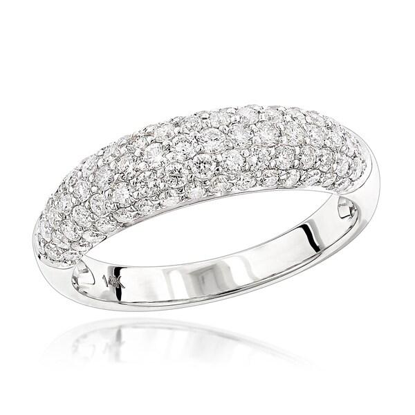 Luxurman 14-karat Gold 1.3-carat Pave Diamond Ring
