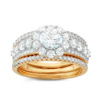 Gioelli Two-tone Gold Plated Sterling Silver Round 3-piece Bridal-style Cubic Zirconia Ring Set