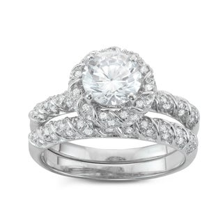Gioelli Sterling Silver Halo 2-Piece Bridal-style Cubic Zirconia Ring Set