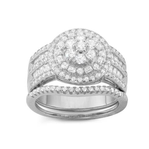Gioelli Sterling Silver Baguette and Round cut 2-Piece Bridal-style Cubic Zirconia Ring Set