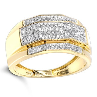 Luxurman Men's 10k Solid Gold 0.32k Diamond Ring