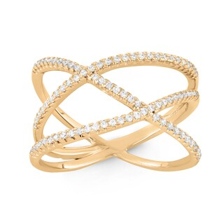 Gioelli Gold Plated Sterling Silver Trend Cubic Zirconia Ring