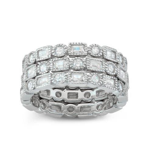 Gioelli Sterling Silver 3-piece Stackable Eternity Cubic Zirconia Band