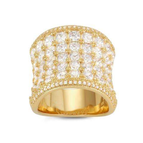 Gioelli Gold Plated Sterling Silver Princess-cut Cubic Zirconia Wide Concave Ring