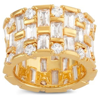 Gioelli Gold Plated Sterling Silver Cubic Zirconia Wide Band Ring