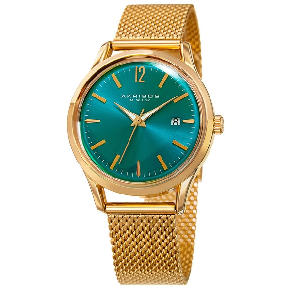 Akribos XXIV Women's Quartz Easy to Read Watch with Turquoise Mesh Bracelet with FREE Bangle