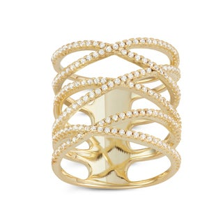 Gioelli Gold Plated Sterling Silver Enlongated X Ring
