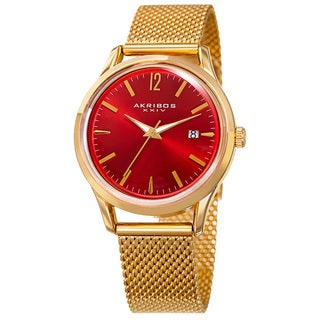 Akribos XXIV Women's Quartz Easy to Read Watch with Red Mesh Bracelet