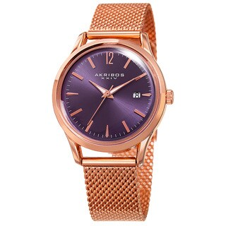 Akribos XXIV Women's Quartz Easy to Read Watch with Purple Mesh Bracelet with FREE Bangle