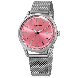 Akribos XXIV Women's Quartz Easy to Read Watch with Pink Mesh Bracelet with FREE GIFT