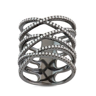 Gioelli Black Rhodium Plated Sterling Silver Enlongated X Ring