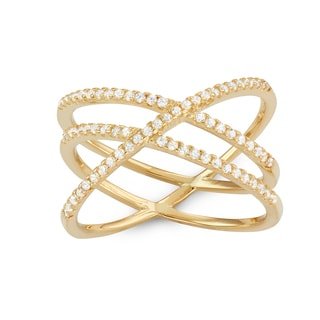 Gioelli Gold Plated Sterling Silver Cubic Zirconia Double Cross Ring