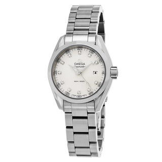 Omega Women's 23110306055001 'Sea master AquaTerra' Mother of Pearl Diamond Dial Stainless Steel Swiss Quartz Watch