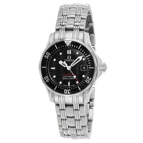 Omega Women's 21230286101001 'Sea master 300' Black Dial Stainless Steel Swiss Quartz Watch