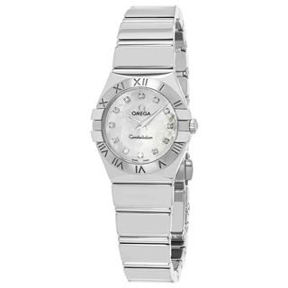 Omega Women's 12310246055002 'Constellation' Mother of Pearl Diamond Dial Stainless Steel Swiss Quartz Watch