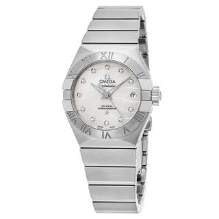 Omega Women's 12310272055002 'Constellation' Mother of Pearl Diamond Dial Stainless Steel Swiss Automatic Watch|https://ak1.ostkcdn.com/images/products/11903093/P18796484.jpg?impolicy=medium