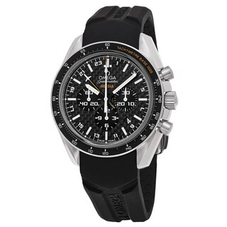 Omega Men's 321.924.45.201.001 'Speedmaster Broad Arrow' Swiss Automatic Watch with Black Dial, and Black Rubber Strap