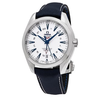Omega Men's 23192432204001 'Sea master 150' White Dial Blue Fabic Strap GMT Swiss Automatic Watch|https://ak1.ostkcdn.com/images/products/11903131/P18796539.jpg?impolicy=medium