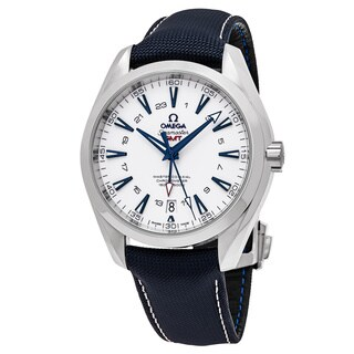 Omega Men's 23192432204001 'Sea master 150' White Dial Blue Fabic Strap GMT Swiss Automatic Watch