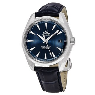 Omega Men's 231.134.22.103.001 'Sea master 150' Blue Dial Blue Leather Strap Swiss Automatic Watch