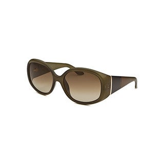 Fendi Women's Green Plastic Oval Army Sunglasses