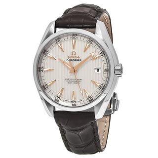 Omega Men's 231.134.22.102.003 'Sea master 150' Silver Dial Brown Leather Strap Swiss Automatic Watch