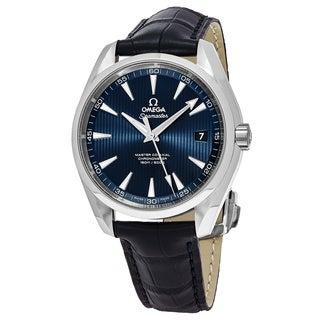 Omega Men's 231.133.92.103.001 'Sea master 150' Blue Dial Blue Leather Strap