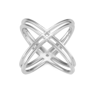 Gioelli Sterling Silver High Polish Double Cross Ring