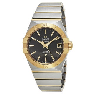 Omega Men's 12320382106001 'Constellation' Grey Dial Stainless Steel/Yellow Gold Co-Axial Swiss Automatic Watch