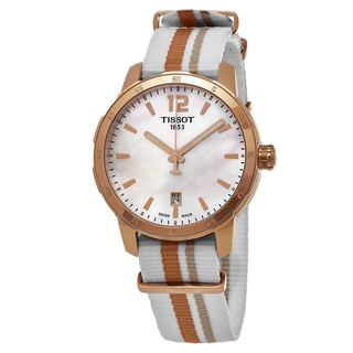 Tissot Men's T0954103711700 'Quickster' Mother of Pearl Dial Nylon Strap Chronograph Swiss Quartz Watch