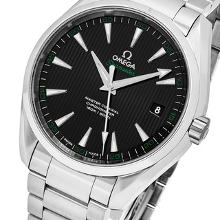 Omega Men's 23110422101001 'Sea master 150' Black Dial Stainless Steel Aqua Terra Swiss Automatic Watch