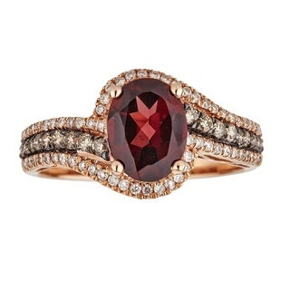 Anika and August 14k Rose Gold Oval-cut Rodholite and Brown Diamond Ring