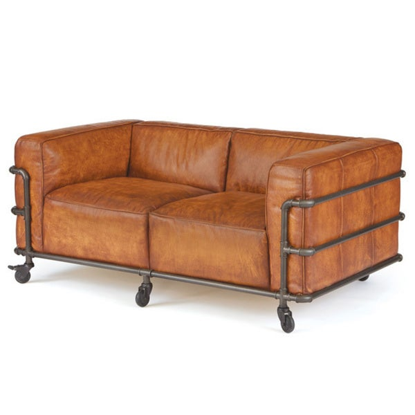 Piped leather sofa free shipping today for Canape oxford honey leather sofa